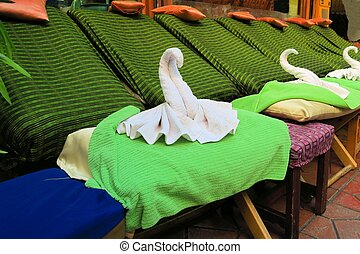 Thai Spa massage chairs with swan towel - Spa massage...