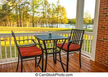 Screened Backyard Deck - Screened patio with furniture...