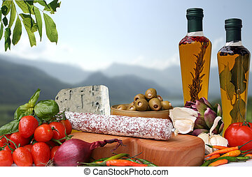 Italian food - Decorative Italian deli with ingredient