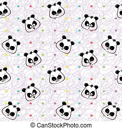 seamless background of colored stars and muzzles pandas