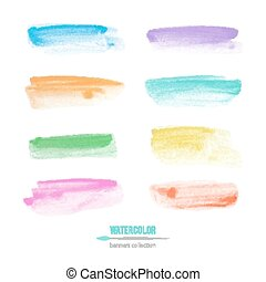 watercolor banners - set of vector watercolor banners on...