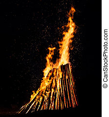 Big bonfire at night. Fire flames on black background