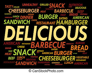 DELICIOUS word cloud, fast food concept