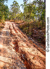 Red soil road damaged.