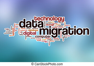 Data migration word cloud with abstract background - Data...