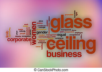 Glass ceiling word cloud with abstract background - Glass...