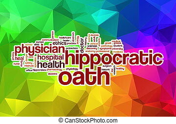 Hippocratic oath word cloud with abstract background -...