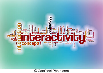 Interactivity word cloud with abstract background