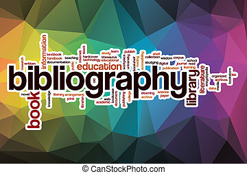 Bibliography word cloud with abstract background -...