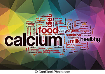 Calcium word cloud with abstract background