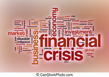 Financial crisis word cloud with abstract background