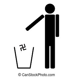 man throws in the trash Nazi swastika - The man throws in...