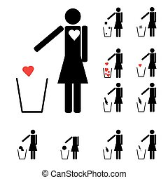 set of eleven woman figures throwing in the trash heart alcohol drugs love and other icons