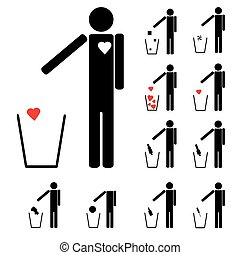 set of eleven figures throwing in the trash heart alcohol drugs love and other icons