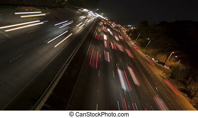 Time lapse inclined freeway light