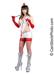 Pretty sexy nurse with a stethoscope. Isolated
