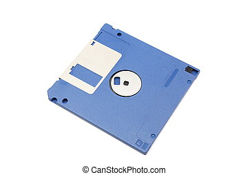 Blue floppy diskette on a white background