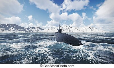 Russian nuclear-powered submarine front view 1 - Front view...