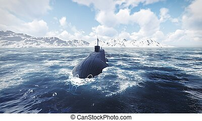 Russian nuclear-powered submarine front view 2 - Front view...