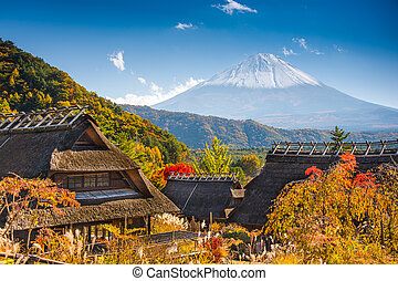 Village in Japan - Iyashi-no-sato village with Mt. Fuji in...