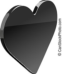 Black Heart - Flat heart isolated on the white