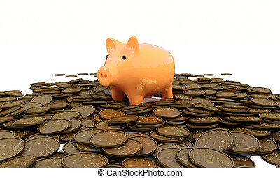 Piggy bank with coins - piggy bank with coins on a white...