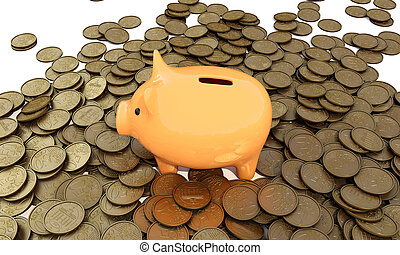 Piggy_bank - piggy bank with coins on a white background