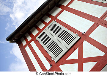 Half-timbered house - Facade of a half-timbered house in...