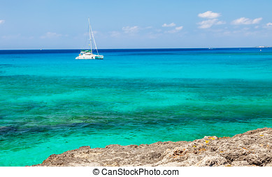 Catamaran - Large catamaran sailing on the Caribbean Sea in...