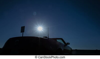 Time lapse convertible sun rising - Time lapse of sun rising...