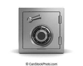 steel safe - 3d illustration of steel safe, front view