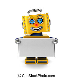 Happy robot holding a blank sign - Smiling toy robot is...