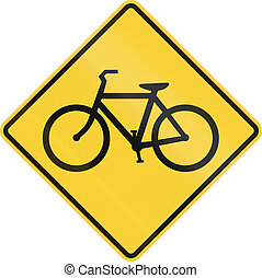 Bicycle Crossing - US road warning sign: Bicycles crossing
