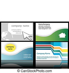 Technology web home designs in 4 up business cards - Four...