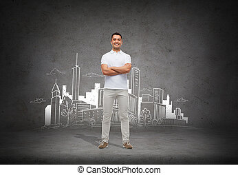 smiling man over city sketch background - architecture,...