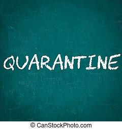 QUARANTINE written on chalkboard