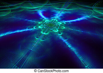 Abstract fantastic ice flower in dark space Fractal art...