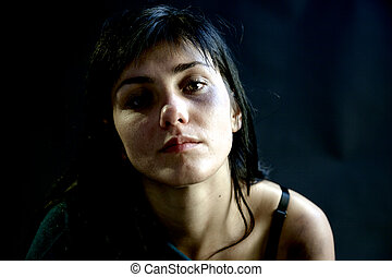 Woman after domestic violence looking camera - Strong woman...