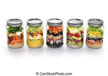 蔬菜, 玻璃, 白色, 罐子, 沙拉