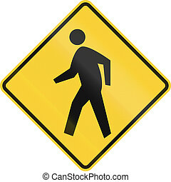 Pedestrian Crossing - US road warning sign: Pedestrian...