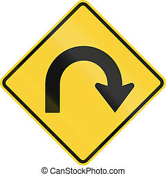 Hairpin Curve - US road warning sign: Hairpin Curve