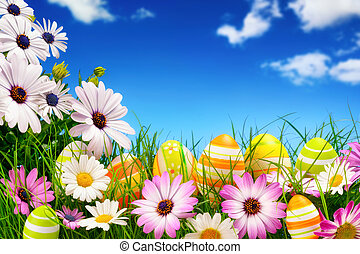 Easter eggs, flowers and the blue sky - Spring flowers and...