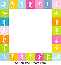 Frame for children with stylized kids silhouettes playing. Free