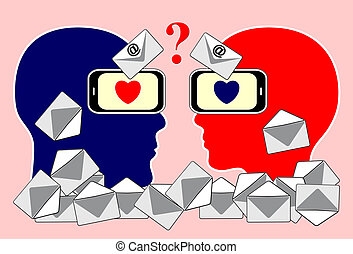 Email Communication Problem - Concept sign of couple finding...