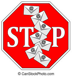 Stop Sending Emails - Concept sign to make aware of unwanted...