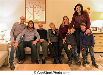 Family portrait of a Dutch family in their home - Family...