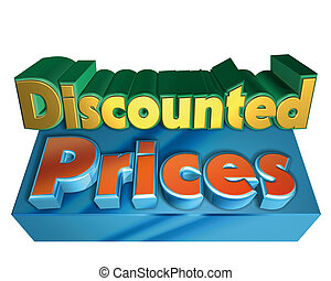 discounted prices - Illustration, discounted prices text on...