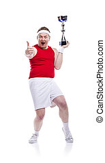 Funny clumsy sportsman - Funny weak sportsman with a trophy...