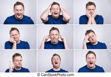 Funny man - Funny young adult showing his emotions...