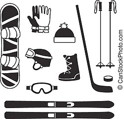 winter sports equipment icons silhouettes collection